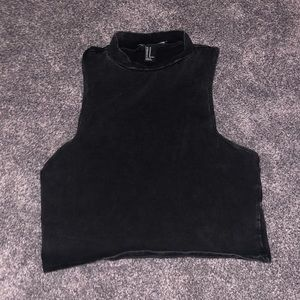 Black Forever 21 Sleeveless Crop Top w/ High Neck